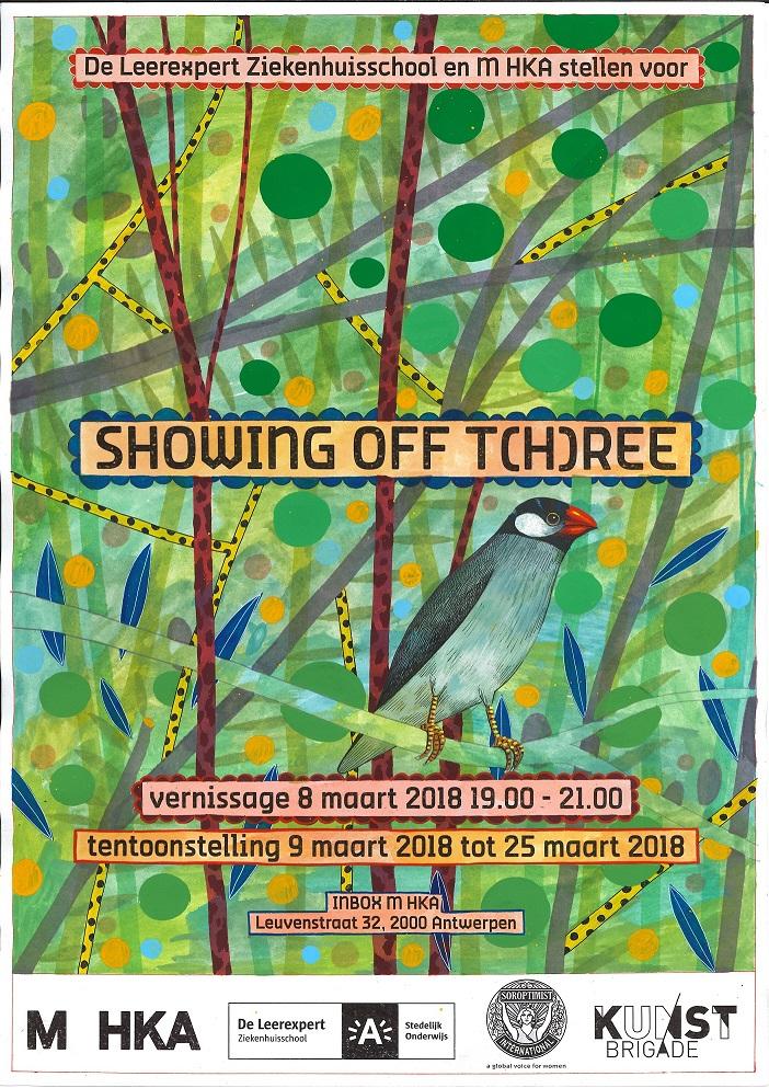 affiche van kunstwerk vogel in gebladerte
