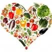groenten en fruit in een hartvorm