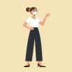 vrouw draagt mondmasker en steekt hand op