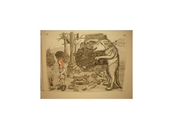 Daria Vervaet: De Wolf, naar technieken van Dürer.  Tekenkunst 2e jaar. Atelier van Vera Snykers