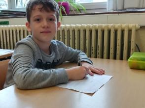 Melos Tafilaj, leerling van het tweede leerjaar van Stedelijke Basisschool De Octopus