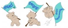 3 beren met een vlag
