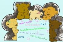 vijf beren die kijken naar één plaats