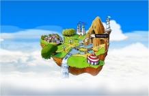 getekend eiland dat in de wolken zweeft