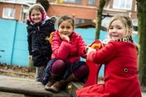 Kinderen op de speelplaats van Stedelijke Basisschool De Zonnebloem