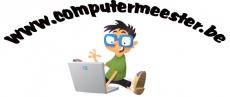 getekende jongetje met brilletje zit op de grond achter laptop