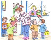 Kleuters aanwezig op de speelplaats in Stedelijke basisschool creatopia
