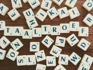 Scrabbleblokjes die het woord Taaltroef vormen