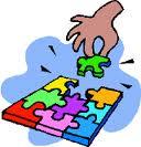 getekende puzzel met hand dat stukje legt