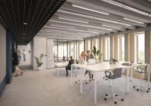 zicht op de nieuwe werkplekken - HUB Architecten