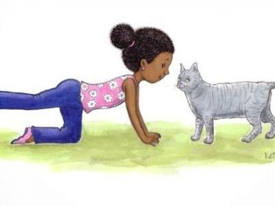 kind en kat doen samen aan joga