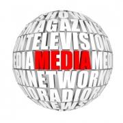 Een bol met de woorden: show, magazine, media, televisie, netwerk, radio, nieuws.