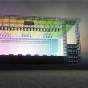 Een podium voor een concert.